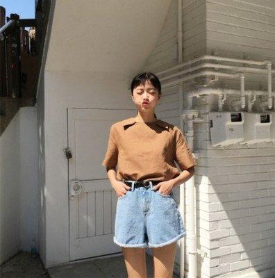 熱賣批發館 O-005夏裝新款百搭顯瘦腰帶卷邊闊腿牛仔短褲熱褲女
