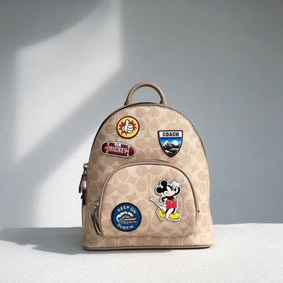 ㊣國際品牌COACH庫㊣美國代購COACH 3892【2件免運】徽章個性設計後背包 迪士尼旅行包 女生雙肩包 附購買證明