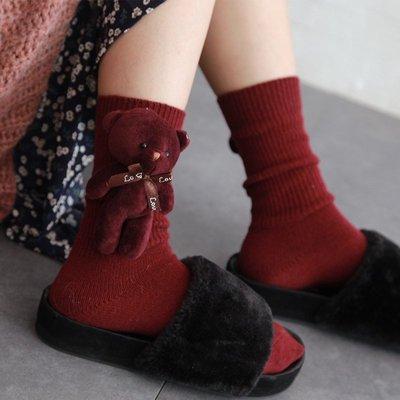 【新衣居】長統襪 長襪 及膝襪 船襪 絲*新衣居*襪 韓國東大門加厚保暖羊毛襪子可愛學生立體玩偶小熊堆堆襪中筒襪女