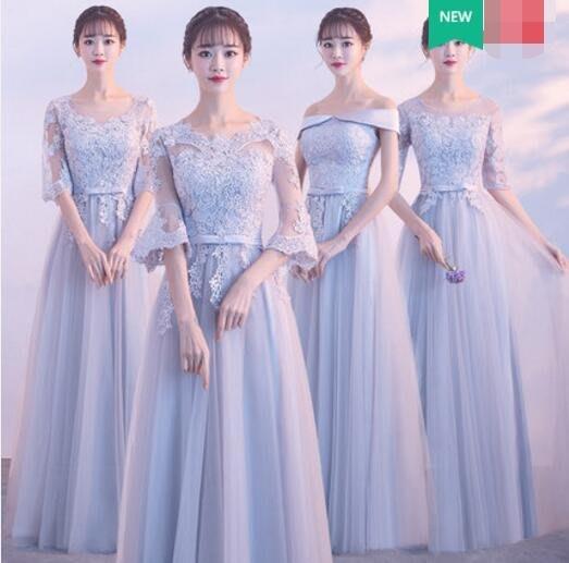 伴娘服 新款 灰色中袖伴娘團姐妹裙長款連身裙 修身晚禮服洋裝—莎芭