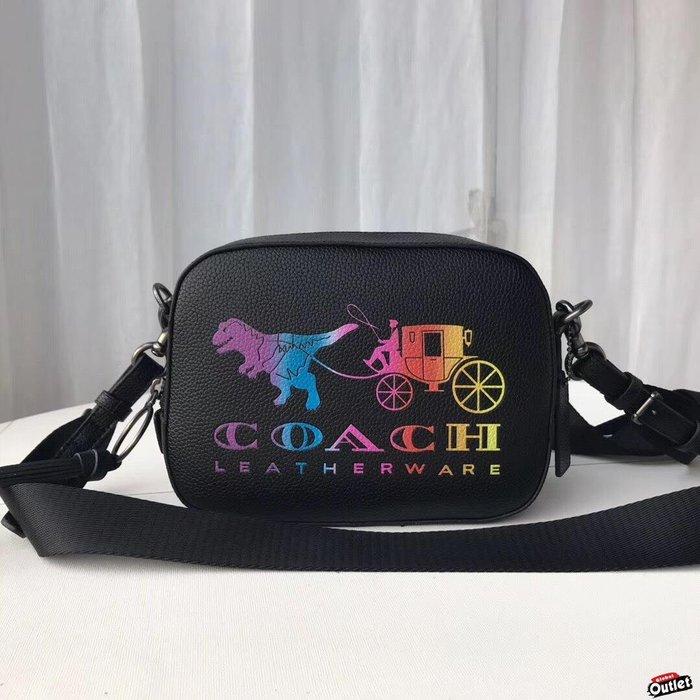 【全球購.COM】COACH 69417 恐龍相機包 漸變色斜跨包 荔枝紋牛皮 單肩包 美國代購