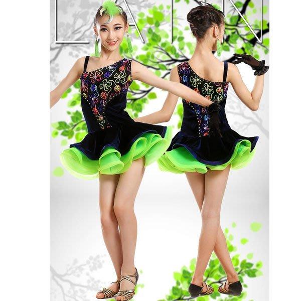 5Cgo【鴿樓】會員有優惠 530258636236 兒童專業拉丁舞演出服新款亮鑽流蘇女童練功服少兒比賽專用舞蹈裙