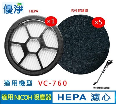 日本NICOH VC-760 吸塵器 HEPA 濾心 贈 5片活性碳濾網