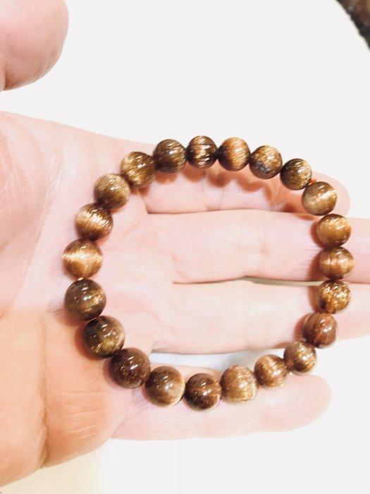 ((上品堂))頂級天然銅鈦手珠重26g丶順絲帶貓眼難得一見的珍品