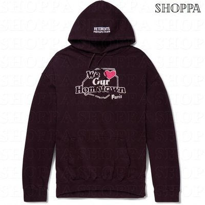 【SHOPPA】VETEMENTS we love hometown 寬鬆 連帽 衛衣   18春夏 黑色