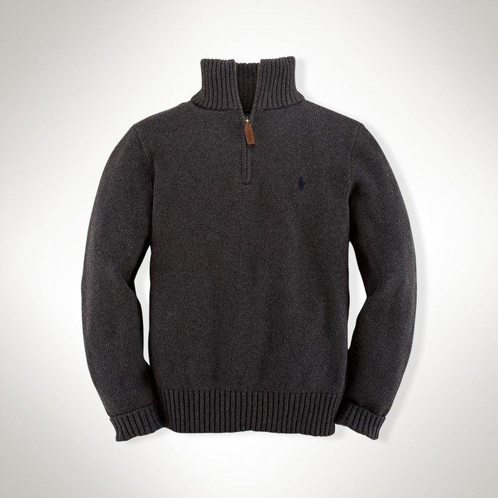 二手美國 Ralph Lauren Polo 深灰色繡馬立領拉鍊針織毛衣 大童S
