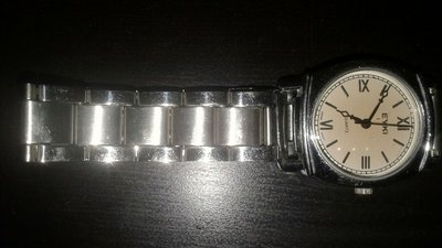 骨董表  EYKI JAPAN MOVT 手錶  小錶面 銀色 米色不鏽鋼