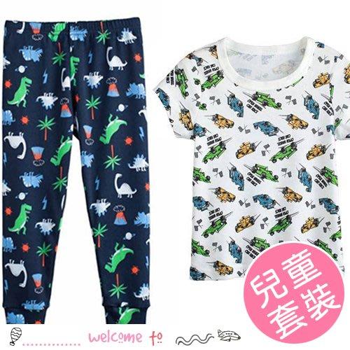 八號倉庫 兒童車車恐龍居家睡衣套裝 短袖+長褲【2F084M147】