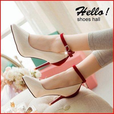 跟鞋*鞋館Shoes hall*【A8813】甜美雙色拼接扣環繫踝尖頭高跟鞋~3色~