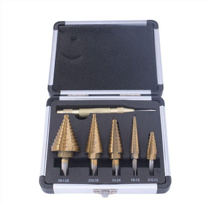 高速鋼英制寶塔鑽三角柄鍍鈦開孔器 6件套擴孔開孔階梯鑽頭套裝 6件套英制鑽頭【鋁盒裝】