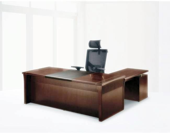 【OY115-1】 8891豪華優質全木皮主管桌-胡桃木色(含選配中抽.鍵盤)/7尺主管桌整組(L型)