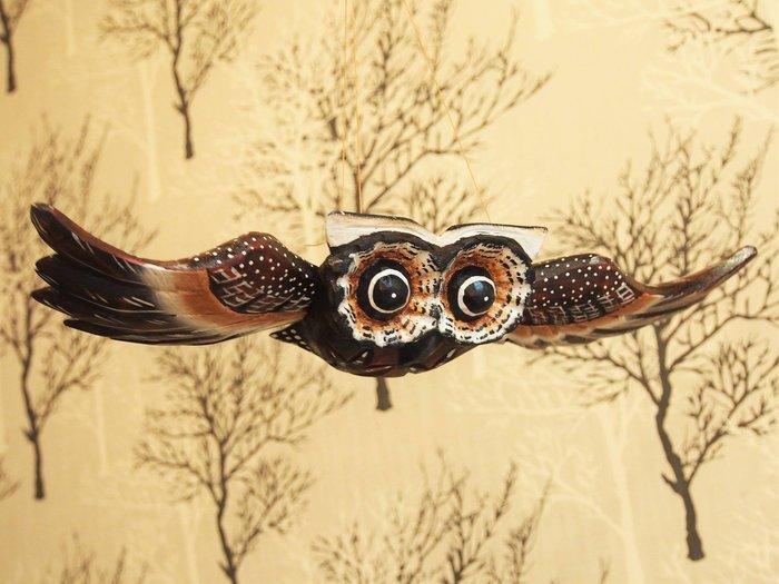 峇厘島貓頭鷹飛翔木雕(小),附有吊繩🌟最特別的禮物都在奧爾思🌟