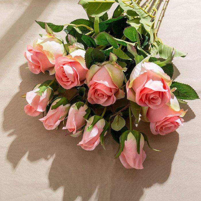 〖洋碼頭〗現代簡約玫瑰花束仿真花餐桌花藝擺件假花仿真花家居客廳室內裝飾 fjs239