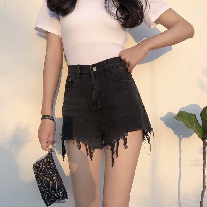 2018新款韩版纯色休闲高腰不规则显瘦宽松牛仔短裤黑色圖1款藍色只有圖2款