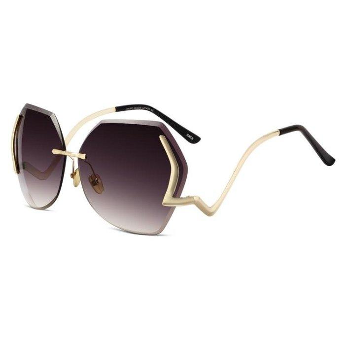 新款大框時尚優雅多邊形太陽鏡女流行街拍墨鏡圓臉復古潮眼鏡