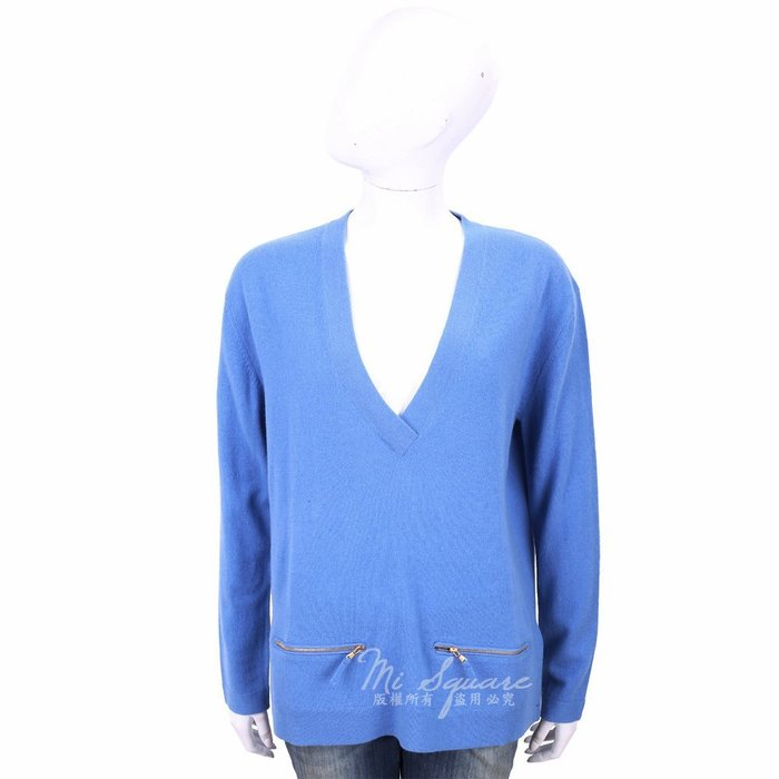 米蘭廣場 ALLUDE 喀什米爾蔚藍色拉鍊口袋細節V領羊毛針織衫 1740227-23