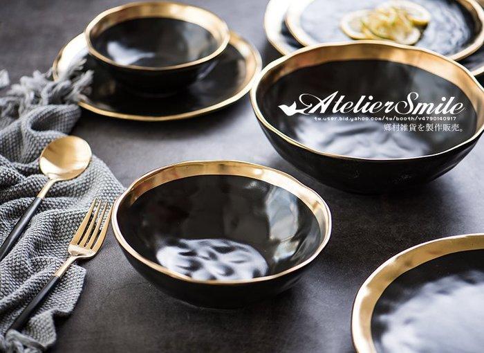 [ Atelier Smile ] 鄉村雜貨 北歐風  陶瓷黑金邊 餐碗 沙拉碗 大湯碗 # 21.5直徑  (現+預)