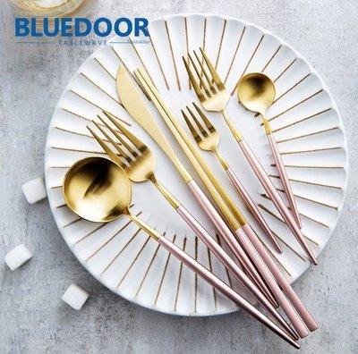 BlueD_餐具 粉紅金色 不鏽鋼 西餐刀 西餐叉 西餐湯匙 西餐勺 牛排刀 筷子 北歐設計新居入遷 禮物 韓國 網美風