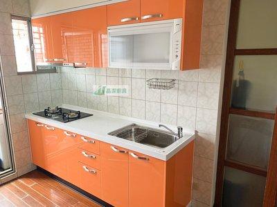 繽紛搶眼橘 閃亮你的廚房 韓國人造石+水晶門+木心桶218cm上下櫃+豪山三機