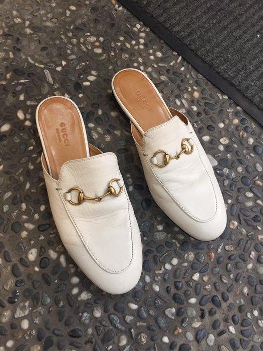 典精品名店 GUCCI 真品 Princetown leather 拖鞋式 皮鞋 平底鞋 36 現貨