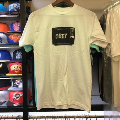 BEETLE 現貨 OBEY WHAT TO THINK TEE 白黒 LOGO 人臉 電視機 TV 短棉T S