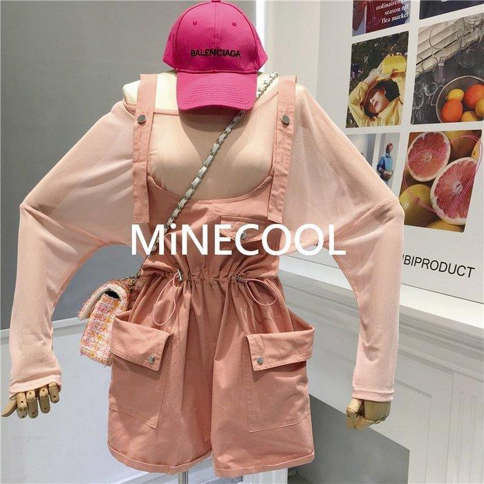 MiNE SHOP韓國 M9627-2實拍 吊帶短褲+防曬薄長袖T恤套裝 五色 均碼