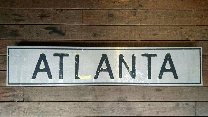 Vintage Americana。復古事 ATLANTA 亞特蘭大 火車站 招牌 站牌 路牌 美國古董 復古 收藏