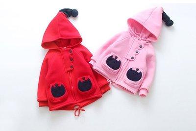 【外套2色】新款 女童100~140cm 女巫尖帽抓絨連帽外套 立體貼袋連帽外套