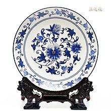 中式傳統吉祥圖案掛盤裝飾品坐盤陶瓷器  藍蓮花 開心陶瓷121