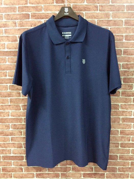 DIBO弟寶-免運 現貨 K SWISS 蓋世威 男生 短袖POLO衫 吸濕快排 排汗衫 彈性涼感-深藍-有大尺碼
