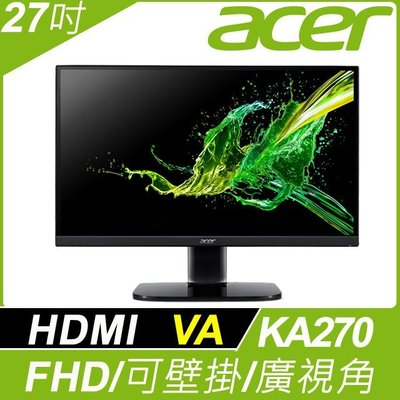 (開發票)Acer宏碁27吋 KA270 bi窄邊框VA面板178度超廣視角螢幕不閃屏瀘藍光可壁掛