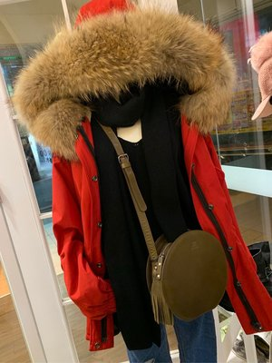 正韓商品 聖誕紅真毛風衣式外套   真毛領鋪棉風衣外套 連帽長外套