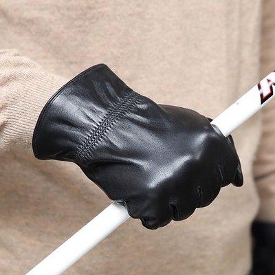 觸控手套 真皮手套-防風山羊皮薄款黑色男手套73wm22[獨家進口][米蘭精品]