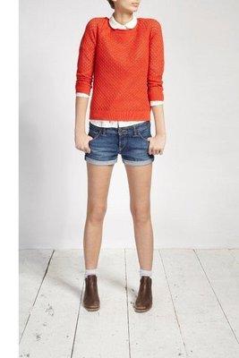 MISHIANA 英國休閒品牌 JACK WILLS 女生款棉質橘色針織長袖上衣 ( 特價出售 )