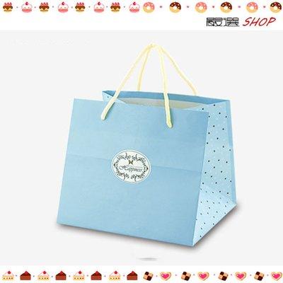 【嚴選SHOP】經典粉藍 紙袋 禮盒袋 乳酪盒袋 購物袋 外賣袋 手提袋 蛋糕袋 包裝袋 時尚袋 環保袋【D076】