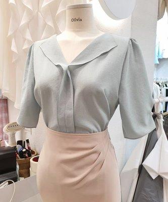 ♥ ♥ ♥ 正韓 韓國服飾 韓國連線 ♥ ♥ ♥  032520980 翻領設計袖壓摺點綴珍珠雪紡上衣