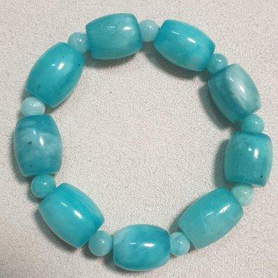 08182 天然 桶珠造型 天河石手珠 天河石 亞馬遜石 幸運之石 12mm 43g 水藍色手珠