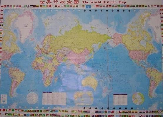 ((1世界地圖))中英文-156 X 216 cm -國產最大的-世界地圖(四大張已拼好)---上光防水