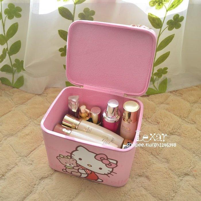 Hellokitty凱蒂貓大容量雙層化妝包可愛卡通收納包女定型化妝箱