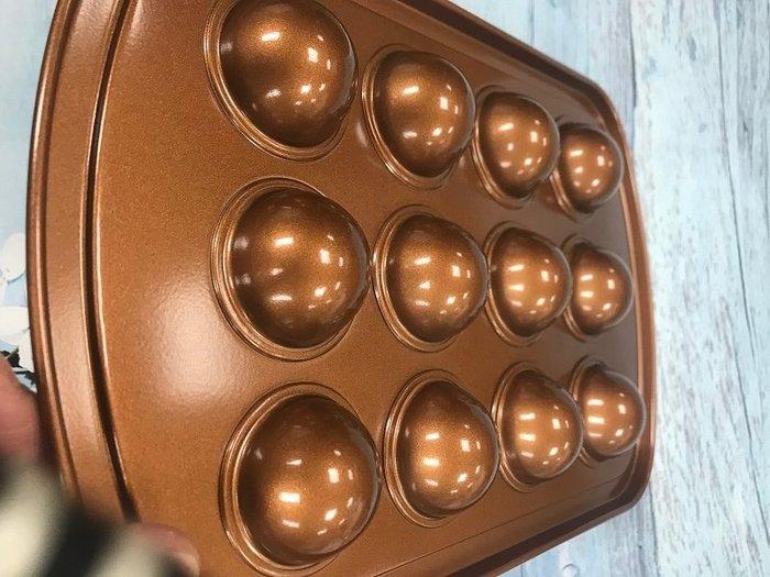 Amy烘焙網:外貿原單重型鋼古銅金色乳酪球烤盤/巧克力乳酪球烤盤