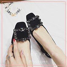 Sis KOREA 歐美名媛風 低調奢華 名媛款 韓國設計 氣質簡約方扣水鑽粗跟高跟鞋