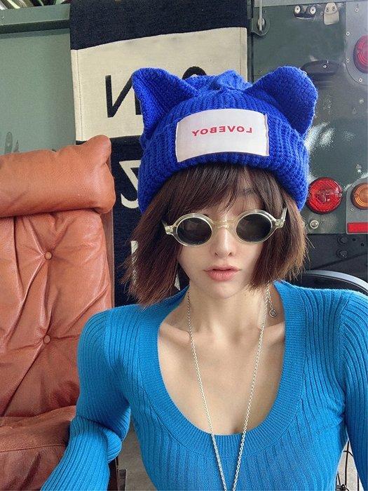 【鈷藍家】原創設計獨特小眾帽飾顯臉小秋冬嘻哈貓耳朵帽羊毛針織毛線帽男女情侶款冷帽豬豬帽