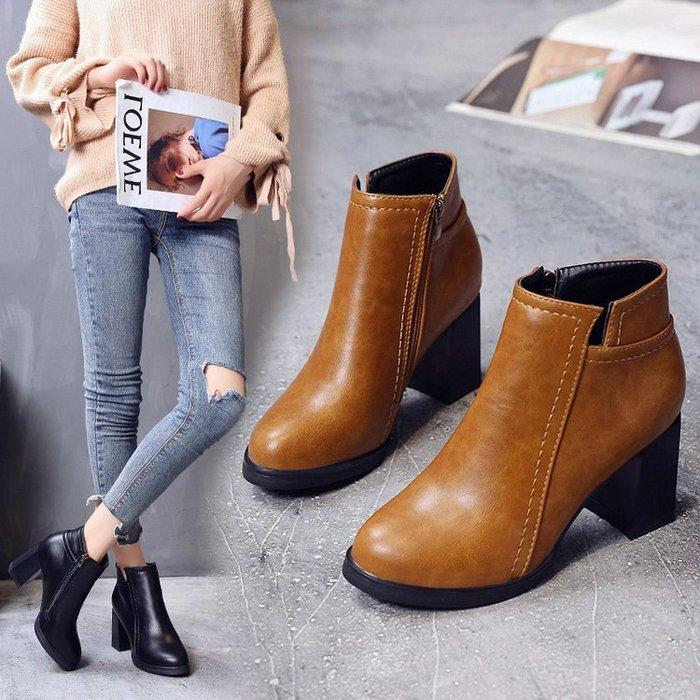 【實用】馬丁靴2018秋冬新款高跟粗跟復古女鞋短靴圓頭馬丁靴英倫復古女靴子裸靴英倫