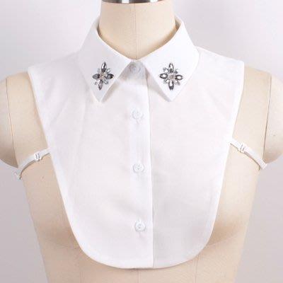 假領子 襯衫 領片-純色雪紡水鑽尖領女裝配件2色73va32[獨家進口][米蘭精品]