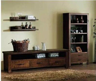 『格倫雅』美式鄉村復古電視櫃LOFT田園做舊家具帶抽屜實木做舊電視桌010^17712