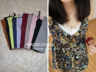 MAIGO ♥ 黑現貨 韓國 Korea MAIGO愛款推薦 超美V領蕾絲花邊細肩帶背心 肩帶可調