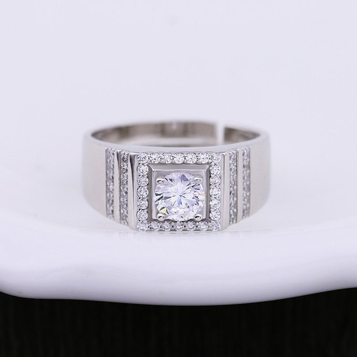 日韓時尚白金男款線形鋯石水鑽可調式開口戒指情人節禮物生日禮物