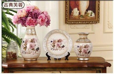 粉紅玫瑰精品屋~歐式富古富貴牡丹擺件三件套~