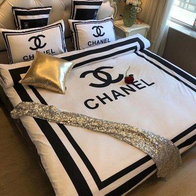 床單 純棉四件套床單被套@B版大牌北歐風潮牌數碼印花4件套床品ins風