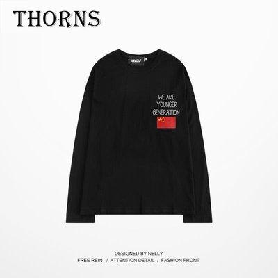 【THORNS】長袖t恤男女潮牌 oversize潮流圖案 字母印花 歐美街頭嘻哈 男女